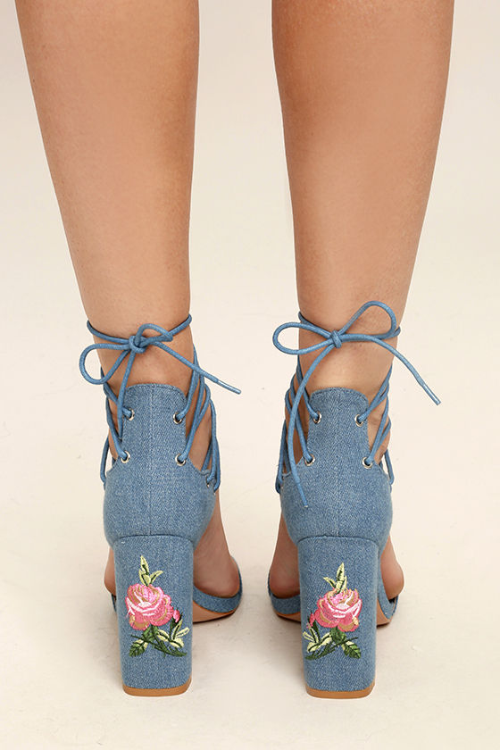 Darcia Denim Lace-Up Heels 4