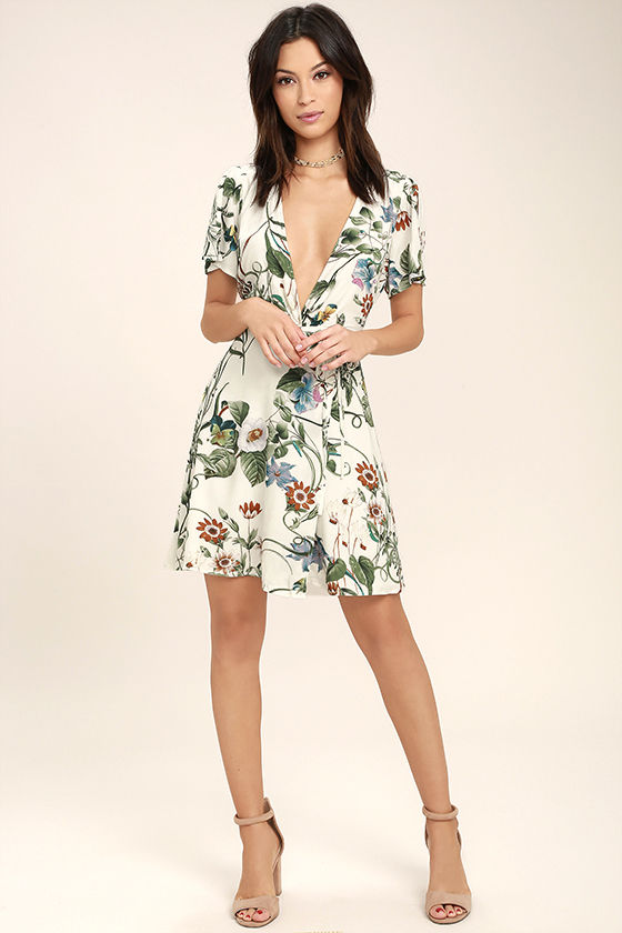 Instant Bliss Ivory Floral Print Wrap Dress 2