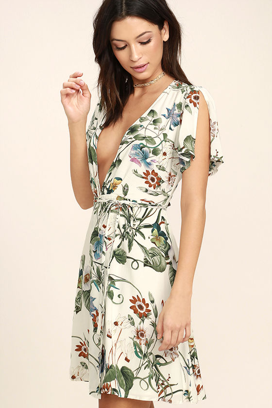 Instant Bliss Ivory Floral Print Wrap Dress 3