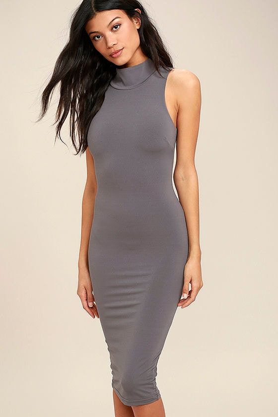 Rock Your Body Right Dark Grey Bodycon Midi Dress 1