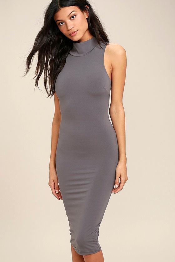 853d2f5bcb4d Chic Dark Grey Dress - Bodycon Dress - Midi Dress - Mock Neck Dress -  44.00