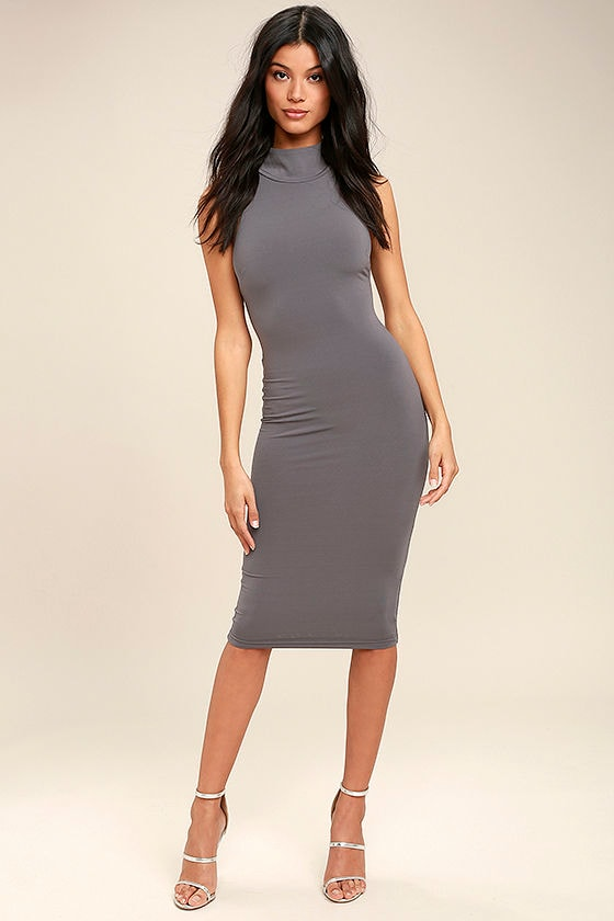 Gray bodycon dress outfit cheap for