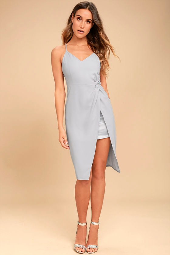 Making Eyes At You Grey Midi Dress 1