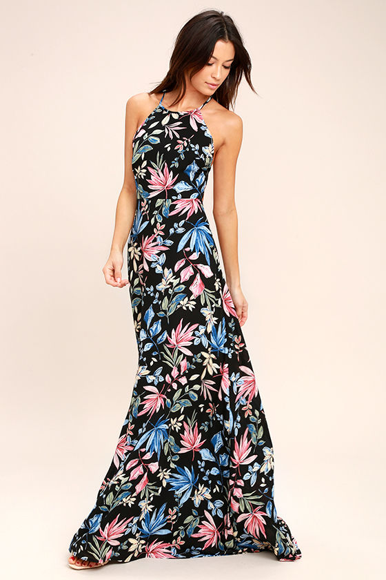 Loving Ways Black Floral Print Maxi Dress 1