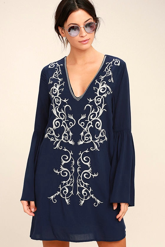 Beauty and the Beach Navy Blue Embroidered Long Sleeve Dress 1