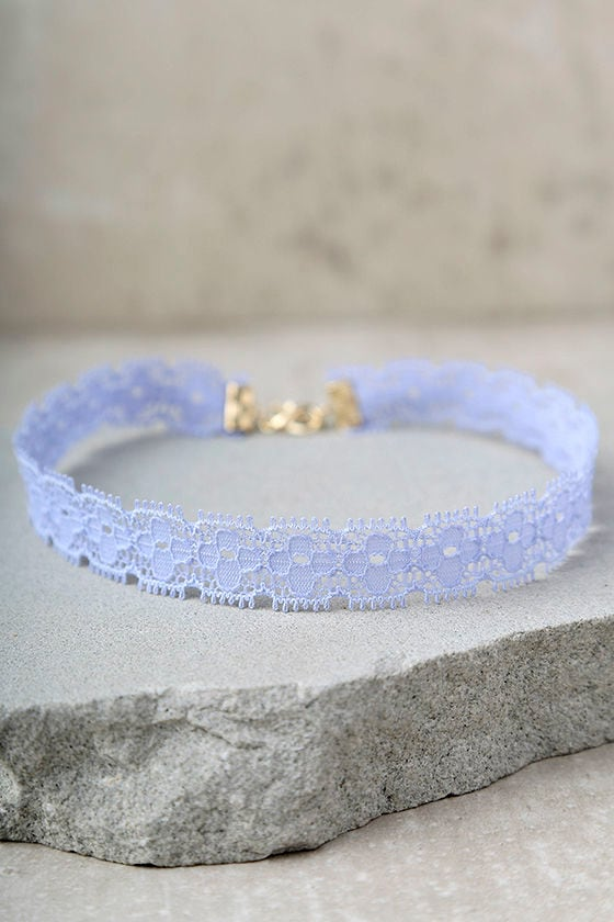 Main Squeeze Light Blue Lace Choker Necklace 1