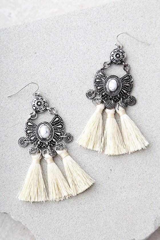 Ancient Ritual Silver and Cream Tassel Earrings 2