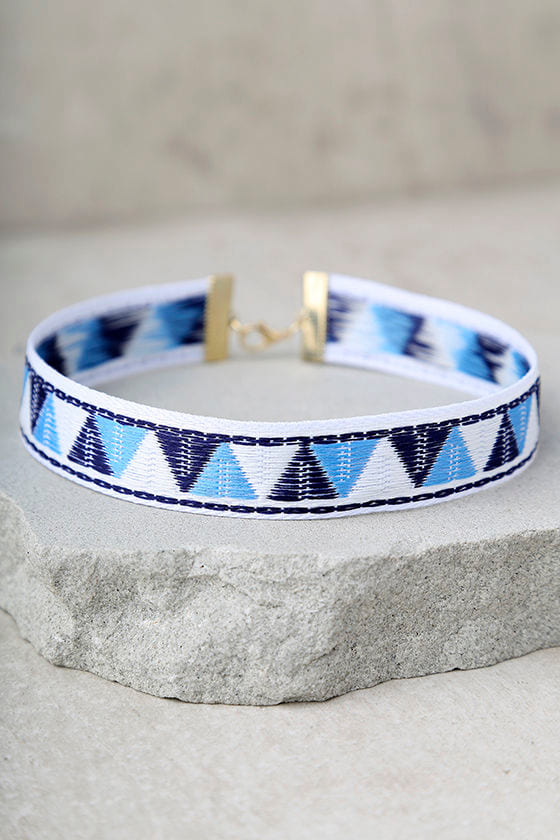 Fregate Island Blue Embroidered Choker Necklace 2