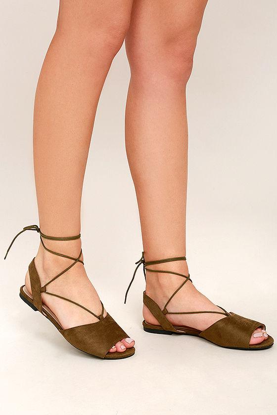 Cute Olive Green Flats Lace Up Flats Peep Toe Flats