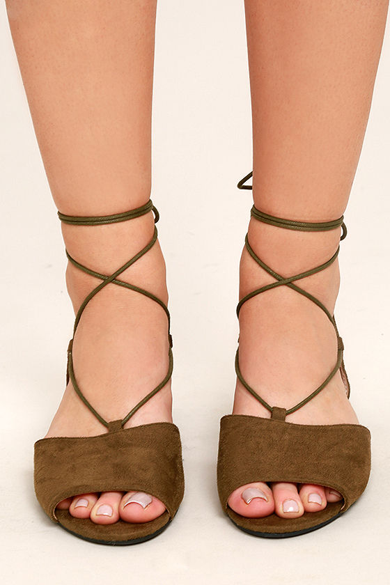 Crissy Olive Suede Lace-Up Peep-Toe Flats 2