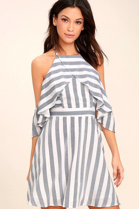 Fun Blue and White Dress - Striped Dress - Off-the-Shoulder Dress ...