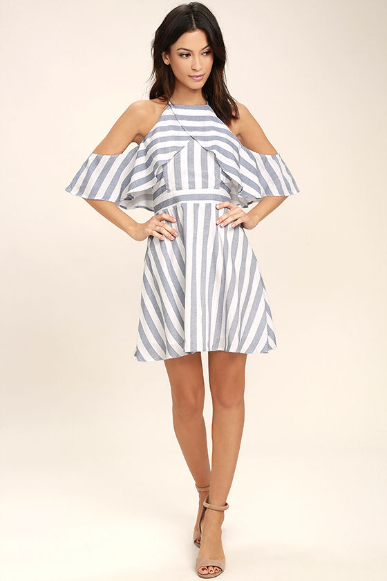 e7f289603373 Fun Blue and White Dress - Striped Dress - Off-the-Shoulder Dress ...