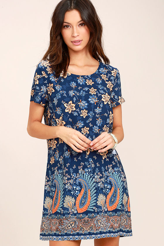 A Place for Us Navy Blue Floral Print Shift Dress 1