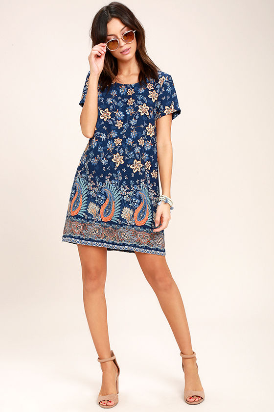 A Place for Us Navy Blue Floral Print Shift Dress 2