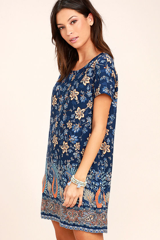 A Place for Us Navy Blue Floral Print Shift Dress 3
