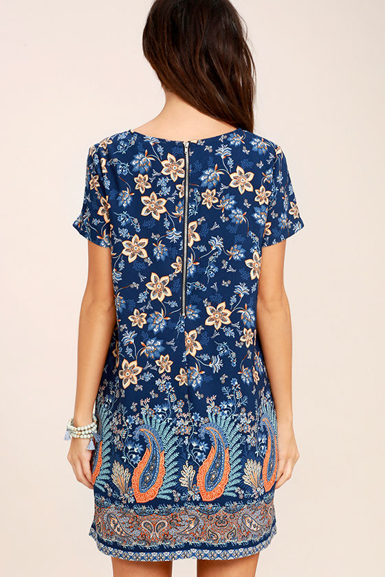 A Place for Us Navy Blue Floral Print Shift Dress 4