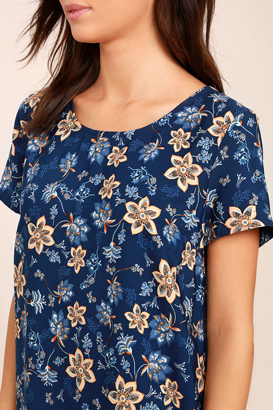 A Place for Us Navy Blue Floral Print Shift Dress 5