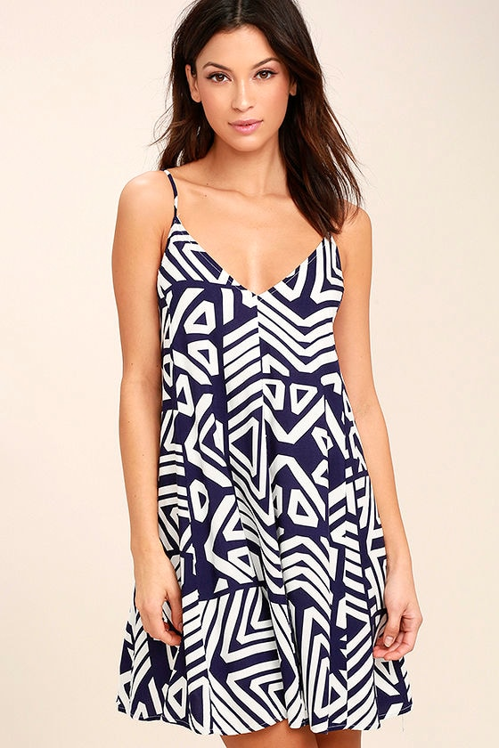 Turn of Phrase Blue and White Print Swing Dress 1