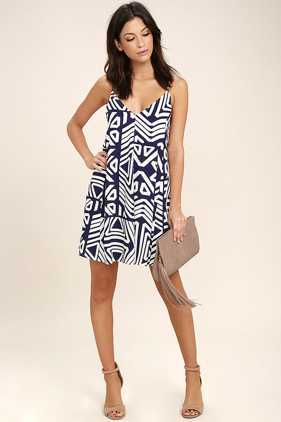 Turn of Phrase Blue and White Print Swing Dress 2