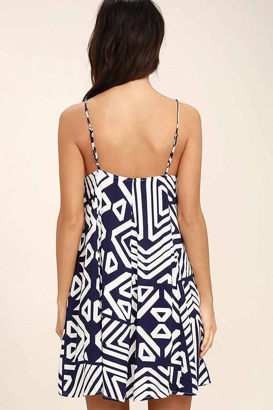 Turn of Phrase Blue and White Print Swing Dress 4