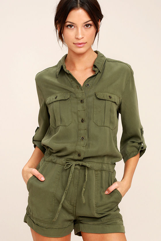Everyday Holiday Olive Green Romper 1