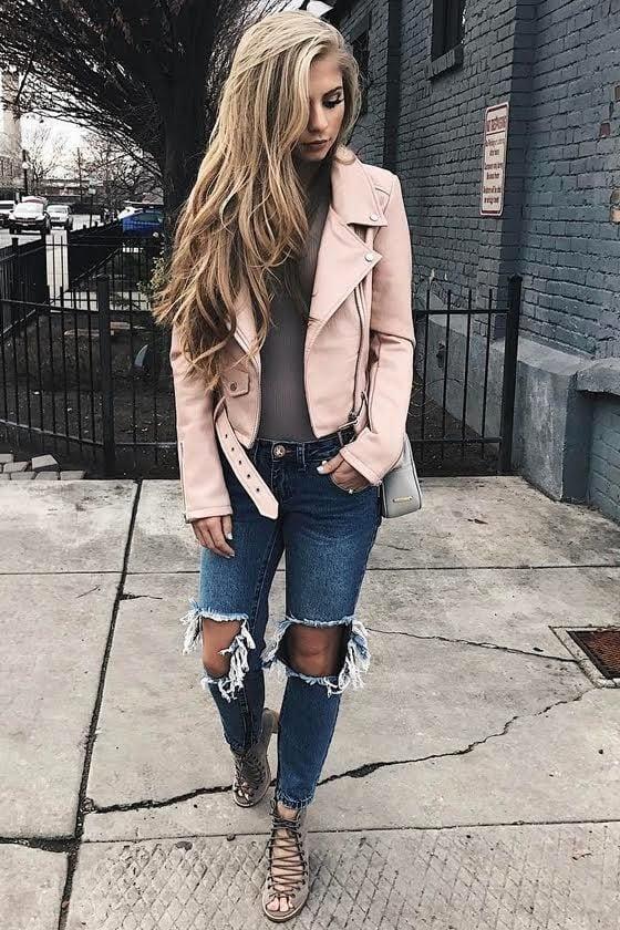 Tough Girl Blush Pink Vegan Leather Moto Jacket 7
