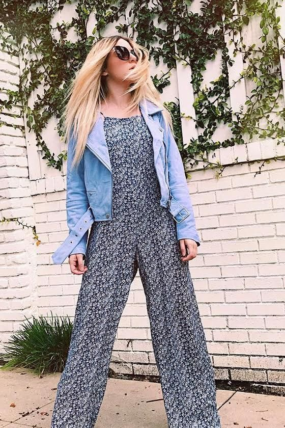 Lucy Love Lucy Blue Floral Print Jumpsuit 7