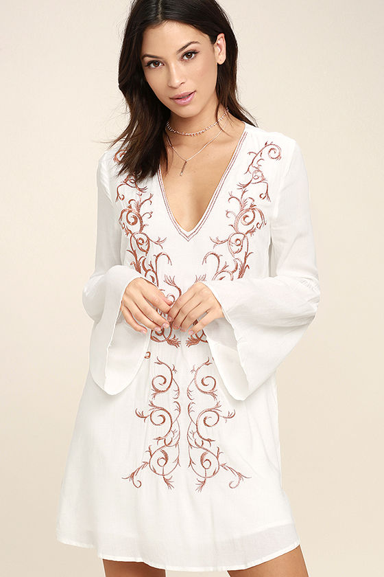 Beauty and the Beach Ivory Embroidered Long Sleeve Dress 1