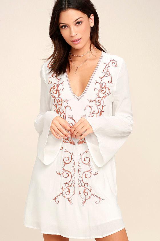18cfa5de3d3d Cute Ivory Dress - Embroidered Dress - Shift Dress - Long Sleeve Dress -   54.00