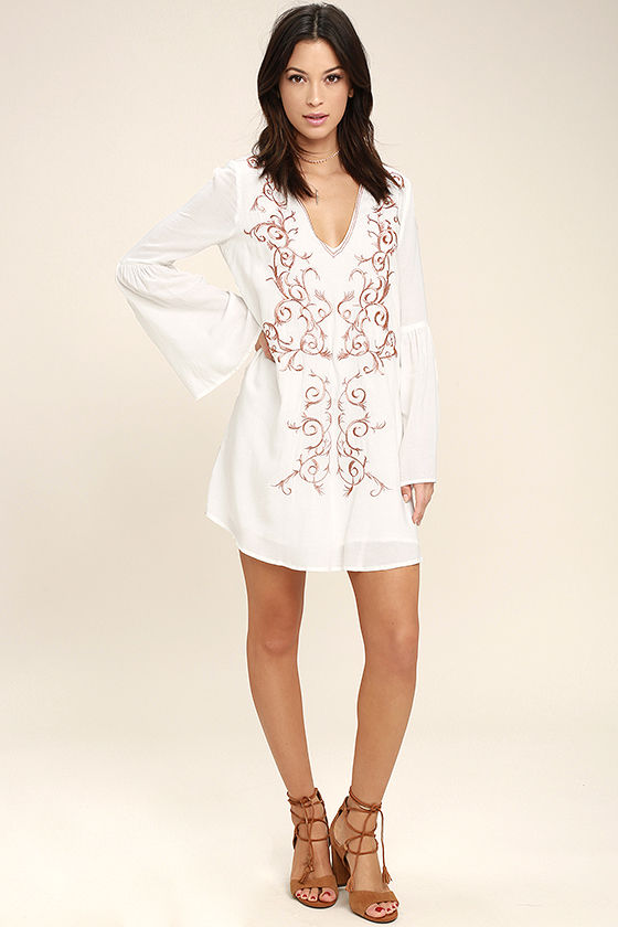 c979481014 Cute Ivory Dress - Embroidered Dress - Shift Dress - Long Sleeve ...