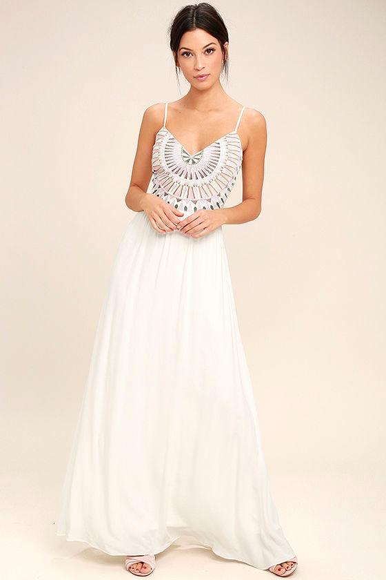Ascension Island White Embroidered Maxi Dress 1