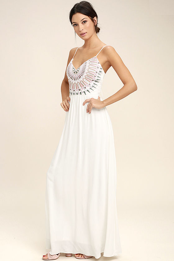 Ascension Island White Embroidered Maxi Dress 2
