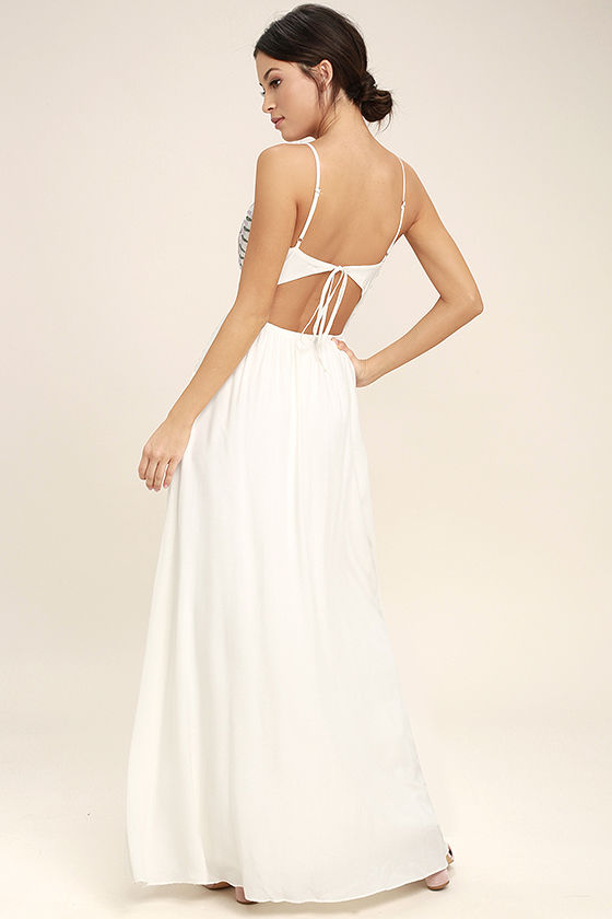 Ascension Island White Embroidered Maxi Dress 3