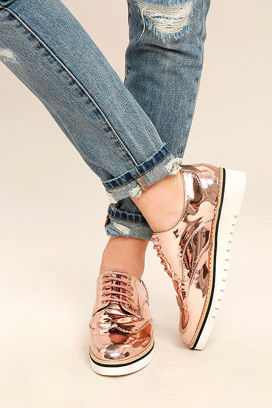 372a146bc2b Chic Rose Gold Oxfords - Platform Oxfords - Platform Sneakers - Metallic  Oxfords -  47.00