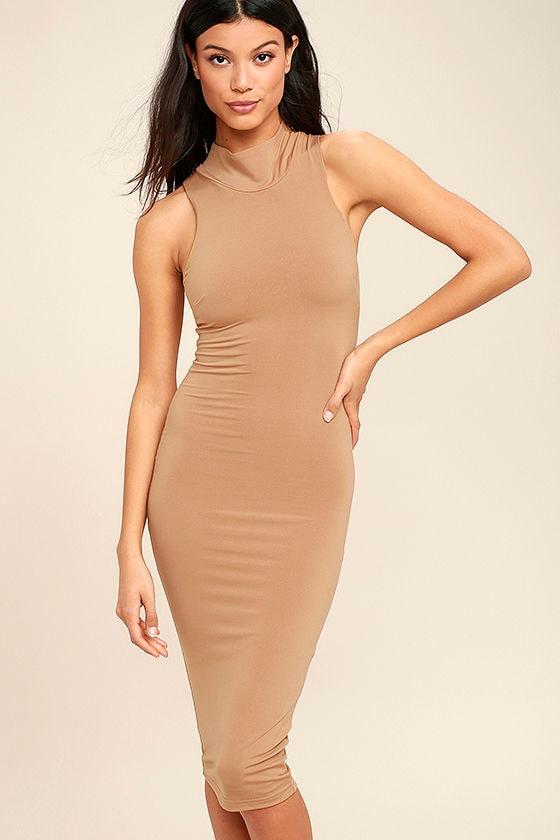 Rock Your Body Right Light Brown Bodycon Midi Dress 2