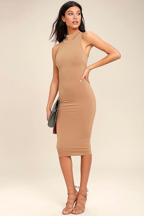 Chic Light Brown Dress - Bodycon Dress - Midi Dress - Mock Neck ...