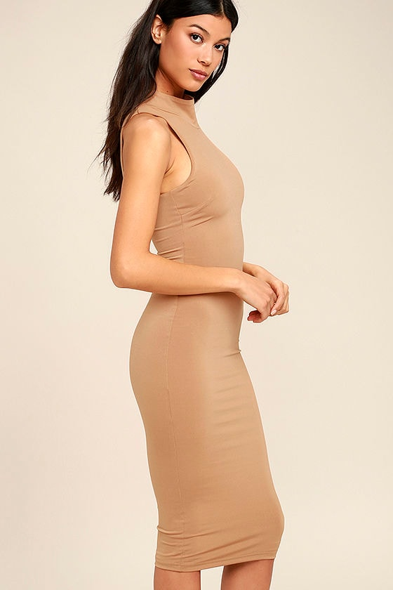 Rock Your Body Right Light Brown Bodycon Midi Dress 4