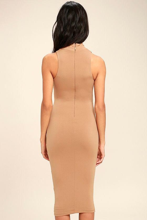 Rock Your Body Right Light Brown Bodycon Midi Dress 5