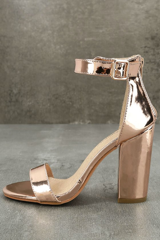 Emalia Rose Gold Patent Ankle Strap Heels 1
