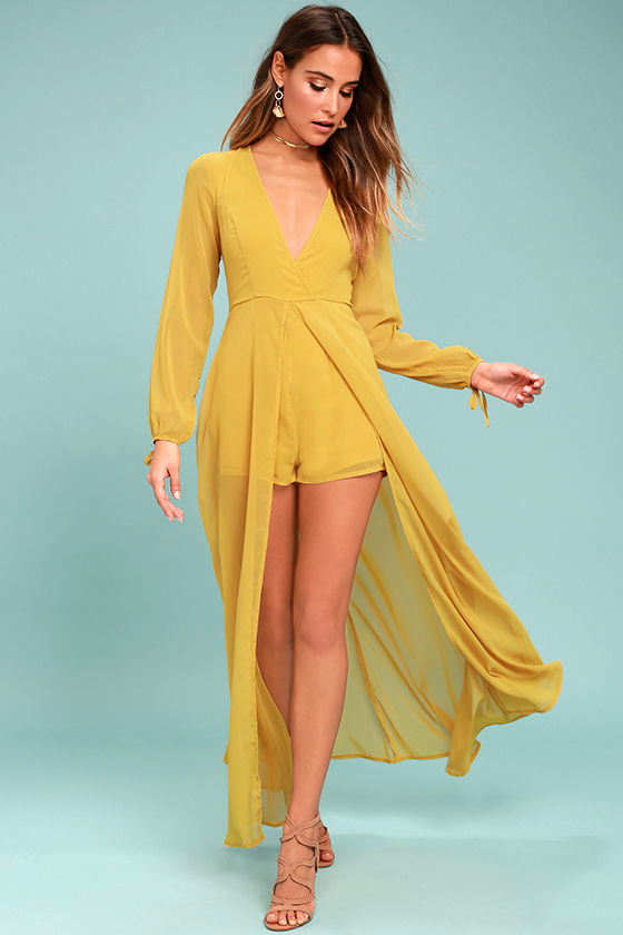 Gone with the Whirlwind Mustard Yellow Romper 1