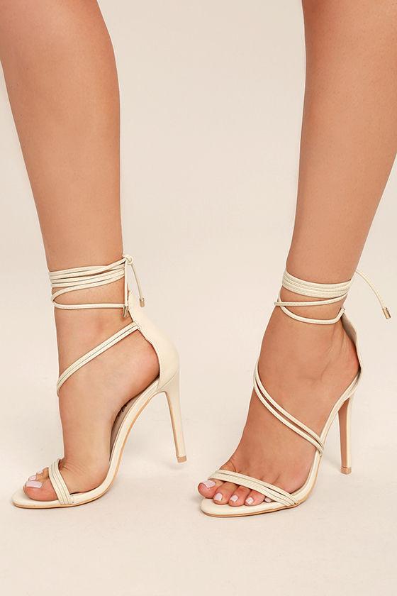 Ameerah Nude Lace-Up Heels 1