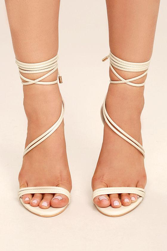Ameerah Nude Lace-Up Heels 2
