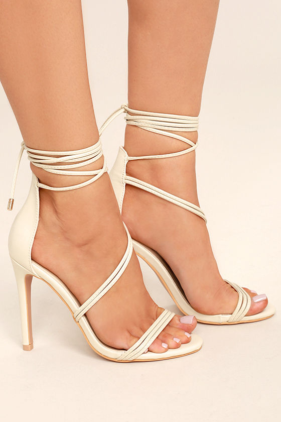 Ameerah Nude Lace-Up Heels 3
