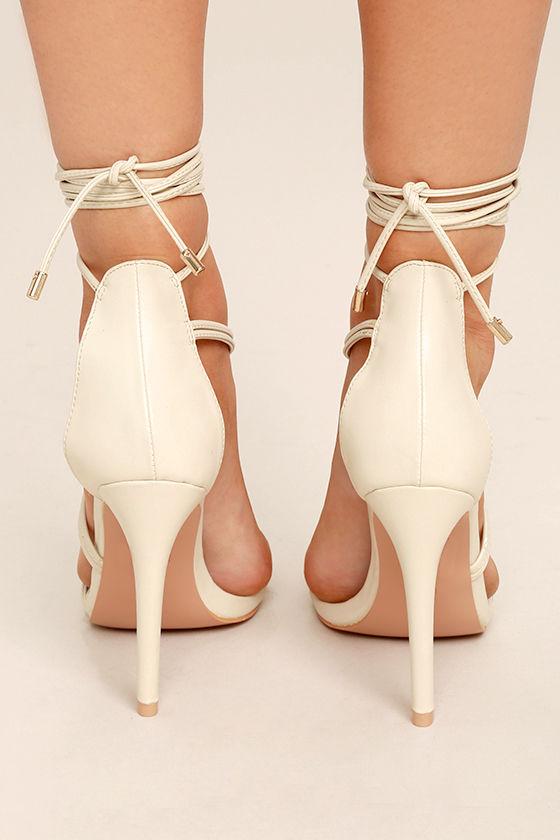 Ameerah Nude Lace-Up Heels 4