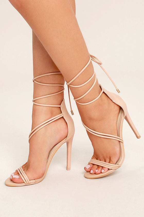Ameerah Blush Lace-Up Heels 1