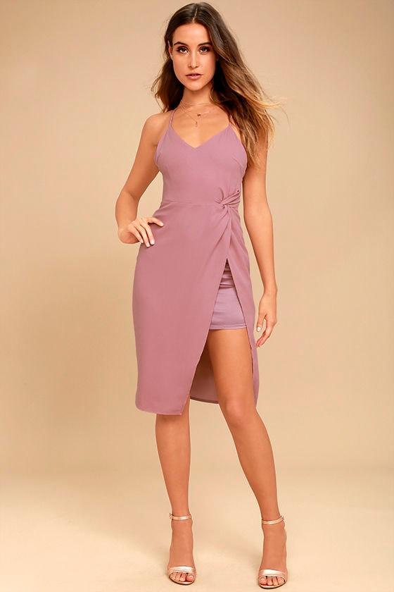 Sexy Mauve Dress - Midi Dress - Wrap Midi Dress - Cocktail Dress ...