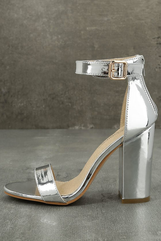 Sexy Silver Heels - Silver Patent Heels - Silver Ankle Strap Heels ...