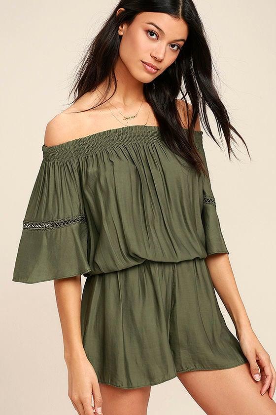bbcaba04a48 Off-the-Shoulder Olive Green Romper - Embroidered Romper - Short Sleeve  Romper - $69.00
