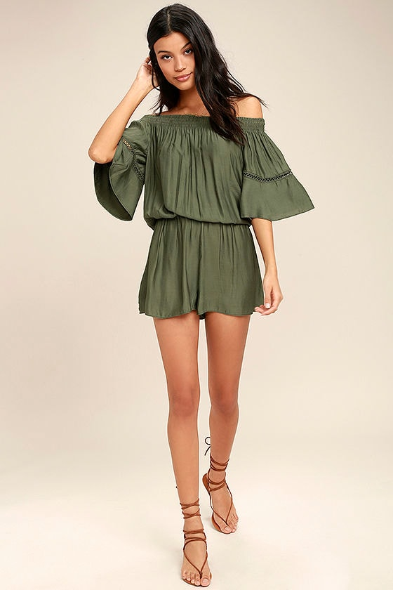 With Feeling Olive Green Off-the-Shoulder Romper 2