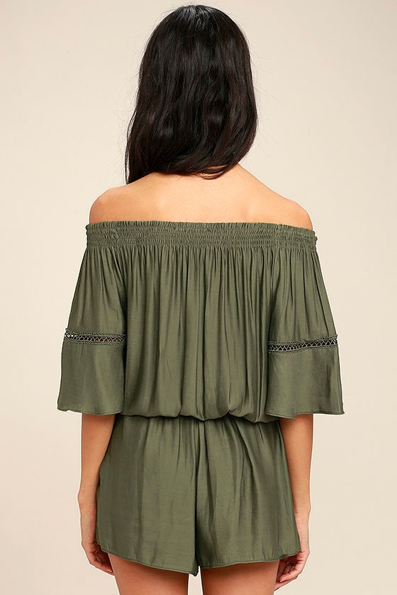 With Feeling Olive Green Off-the-Shoulder Romper 4